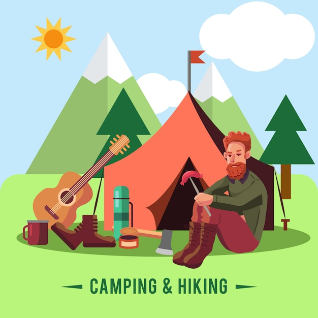 Camping flat set with hiking equipment and outdoors cooking icons Free Vector