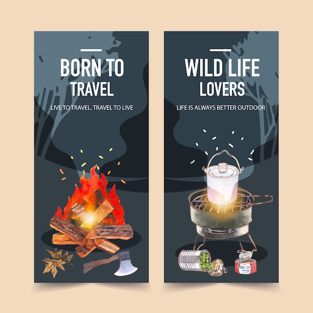 Camping flyer  with grill stove, camp pot and bonfire  illustrations. Free Vector