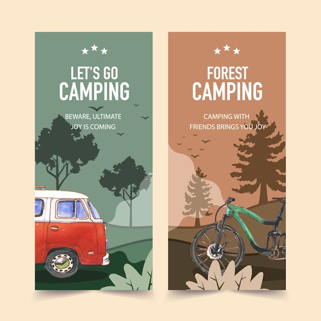 Camping flyer with tree, bike, van and forest  illustrations. Free Vector