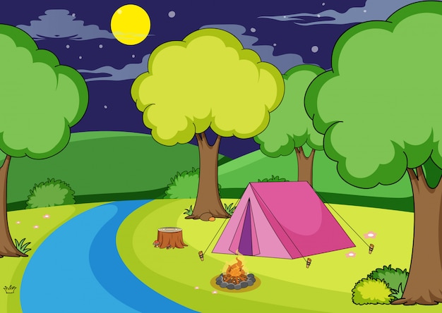 Camping in the forest Free Vector