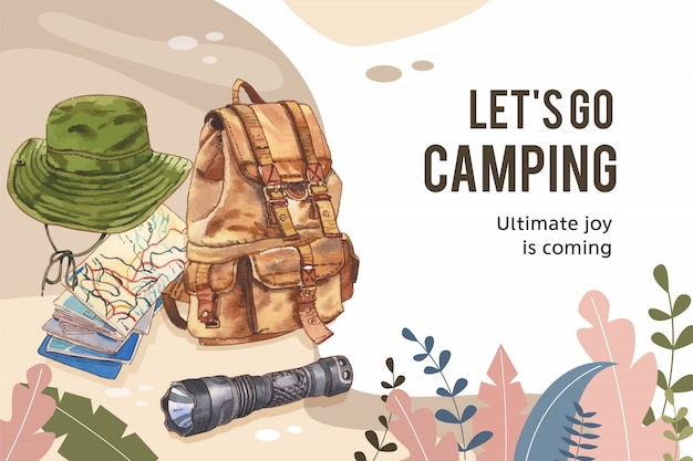 Camping frame  with bucket hat, flashlight and backpack  illustration. Free Vector