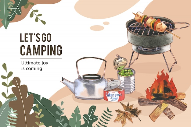 Camping frame  with kettle, canned food and campfire illustrations. Free Vector