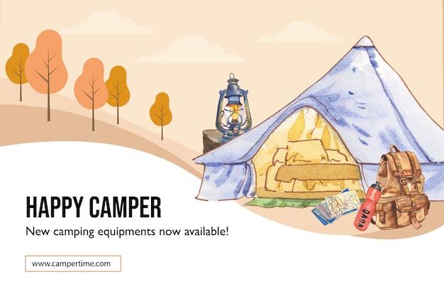 Располагаясь лагерем рамка с иллюстрацией шатра, карты, рюкзака, фонарика и склянки. Бесплатные векторы