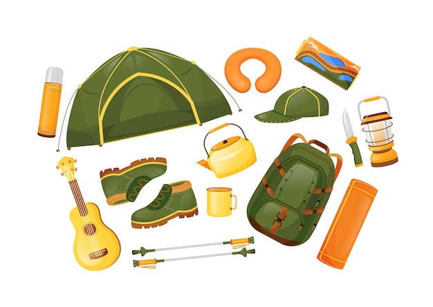 Premium Vector Camping Gear Flat Color Objects Set Travel Equipment Trekking Poles Tent And Guitarra Adventure Journey Hiking Essentials 2d Isolated Cartoon Illustration On White Background