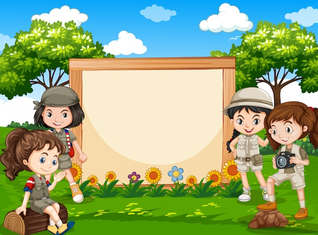 Camping girl in nature banner Free Vector