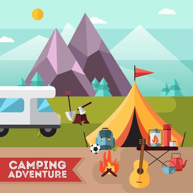 Camping and hiking adventure flat poster with tent guitar Free Vector