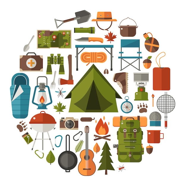 Camping and hiking elements. forest hike icon set. Premium Vector