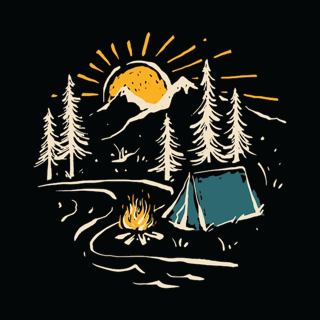 Camping hiking nature mountain river illustration Premium Vector