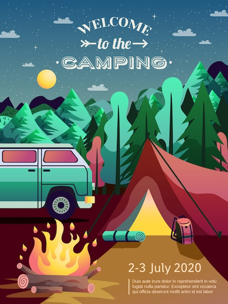 Camping hiking poster Free Vector