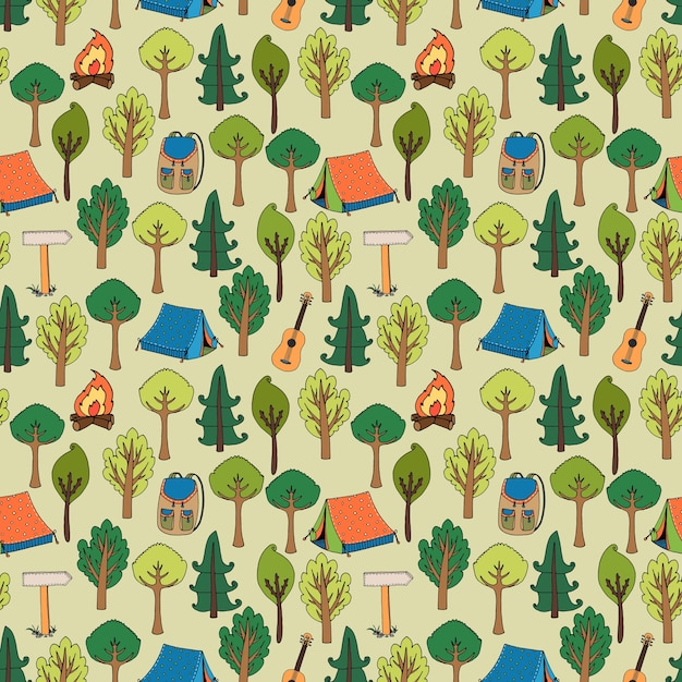 Camping and hiking seamless pattern of tents in a forest of trees with camp fires  rucksacks  backpacks  guitars and trail markers  vector illustration in square format Free Vector