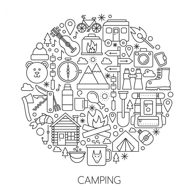 Camping, hiking tools line concept Premium Vector