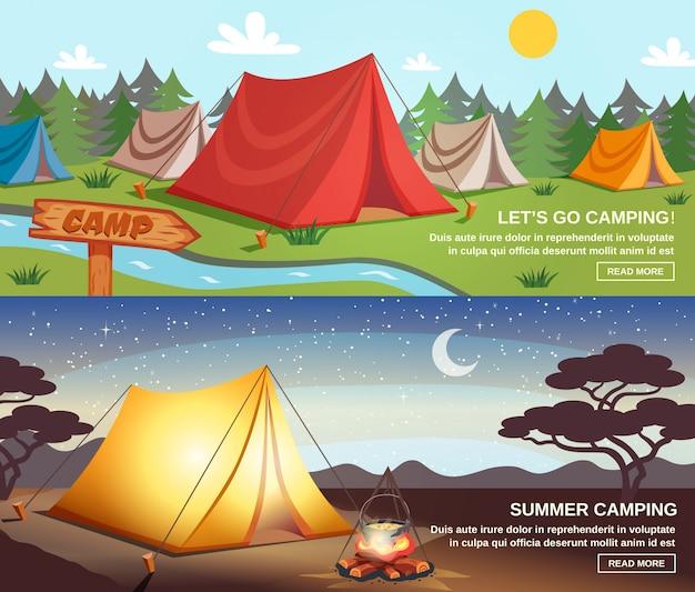 Camping horizontal banners Free Vector