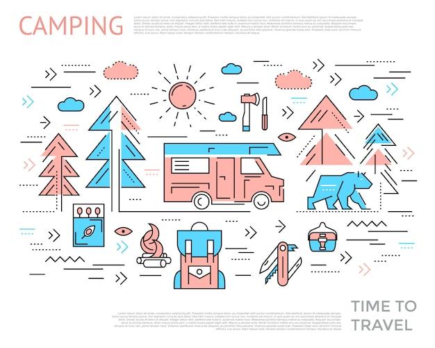 キャンプホリゾンタルコンセプト 無料ベクター