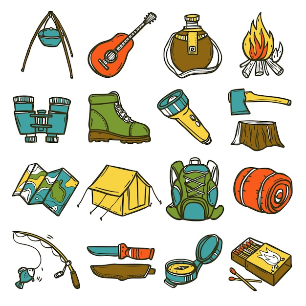 Camping icon set Free Vector