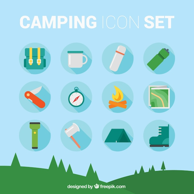 Camping icon set Vector | Free Download