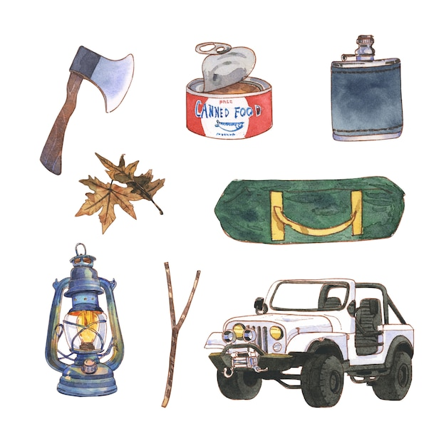 Camping illustration design with watercolor for decorative use. Free Vector
