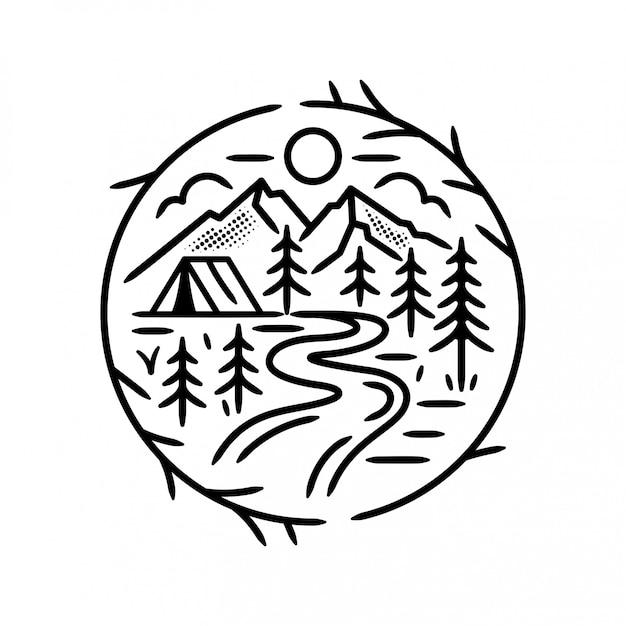 森のキャンプバッジ Premiumベクター