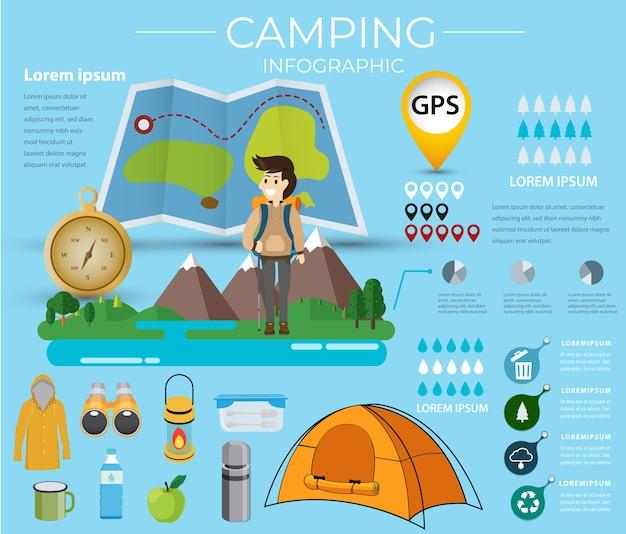 Camping infographic. data information vector illustration. Premium Vector