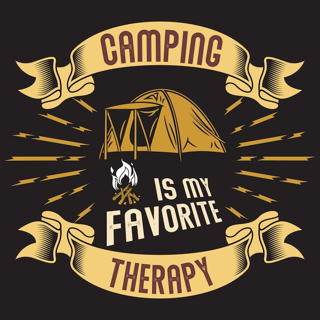 Camping is my favorite therapy Premium Vector