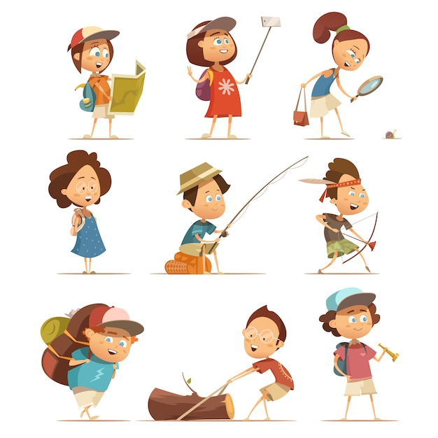 Camping kids cartoon icons set with equipment isolated vector illustration Free Vector