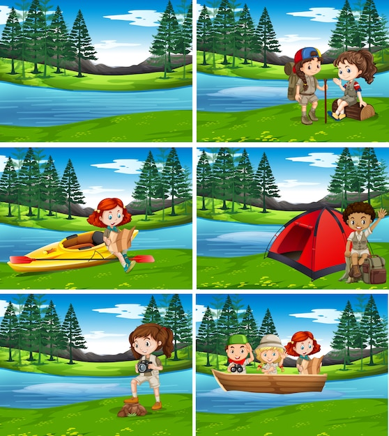 Camping kids in the nature Premium Vector