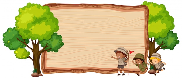 Camping kids on wooden banner Premium Vector
