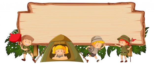 Camping kids on wooden banner Free Vector