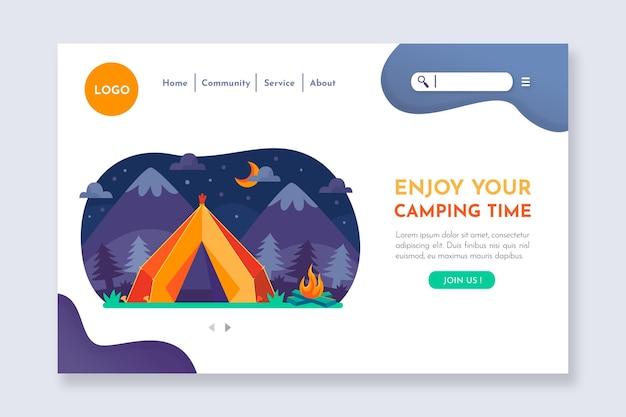 Modello di pagina di destinazione del campeggio illustrato Vettore gratuito