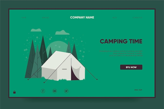 Camping landing page template with tent Premium Vector