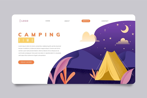 Camping landing page template Free Vector