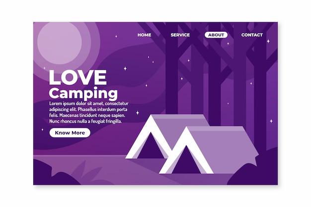 Modello di pagina di destinazione del campeggio Vettore gratuito