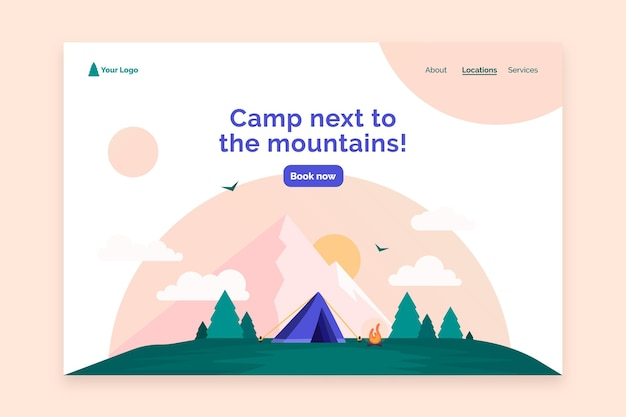 Camping landing page web template Free Vector
