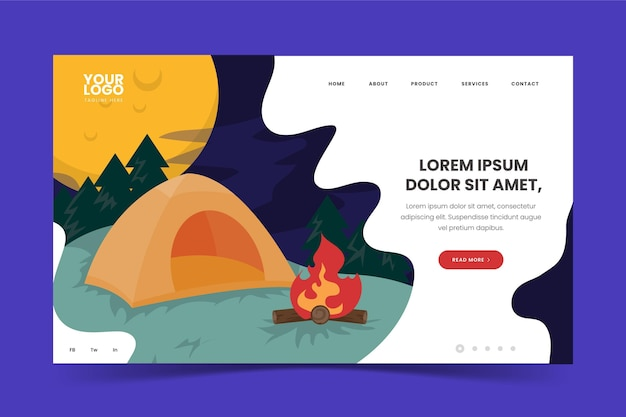 Camping landing page with tent and campfire Free Vector
