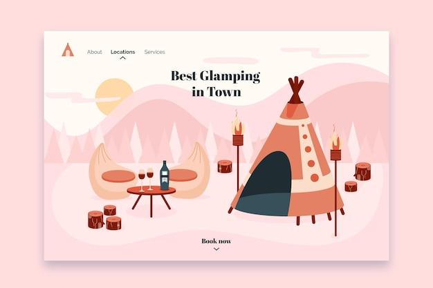 Camping landing page Premium Vector