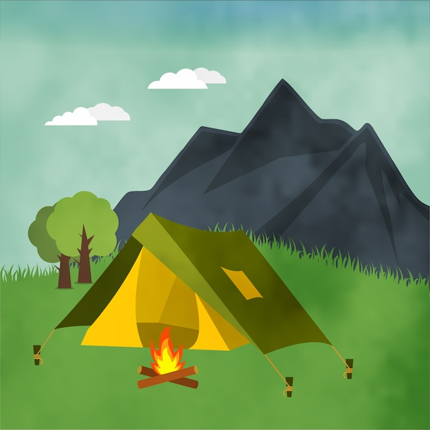 Camping landscape background