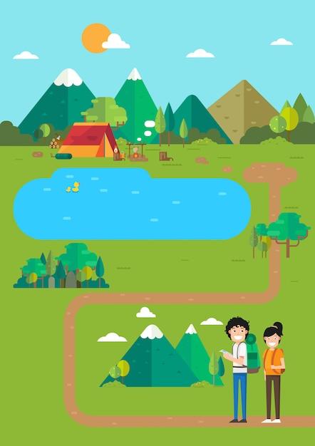 キャンプの風景、山の湖のキャンプ場の場所、travel.illustrationの時間 Premiumベクター