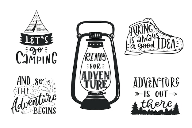 Camping lettering collection Free Vector