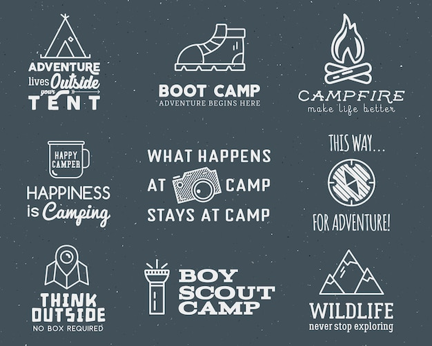 Camping logo set with typography and travel elements Premium Vector