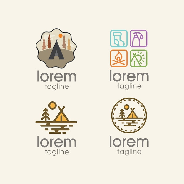 Camping logo templates collection