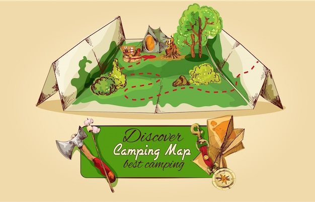 Camping map sketch Free Vector