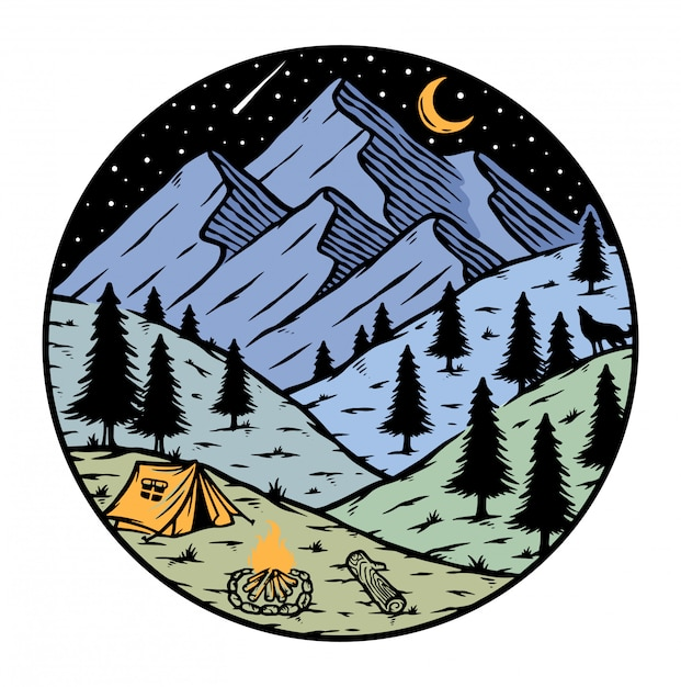 Camping in the mountains at night illustration Premium Vector