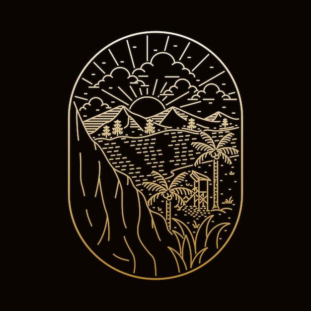 Кемпинг природа приключение дикая линия значок патч булавка графическая иллюстрация искусство дизайн футболки Premium векторы