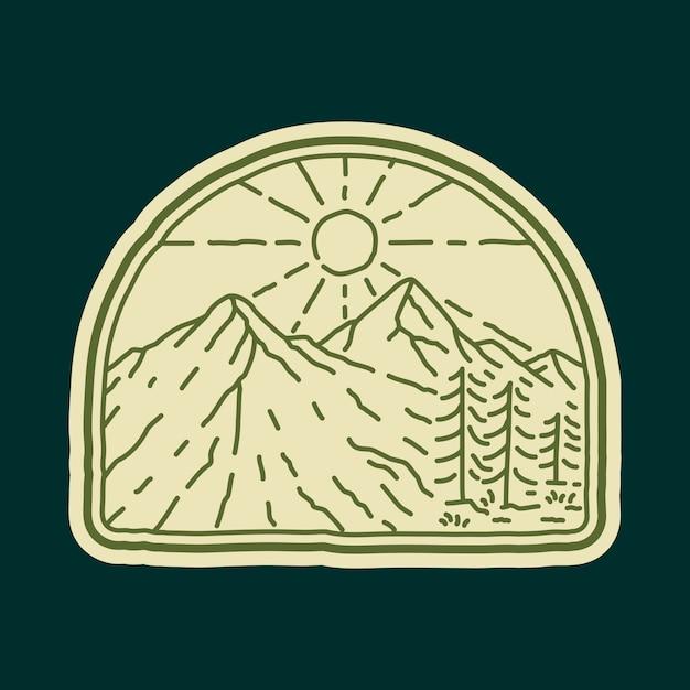 キャンプ自然冒険ワイルドラインバッジパッチピングラフィックイラスト Premiumベクター