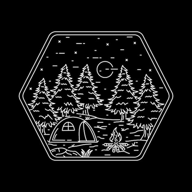 캠핑 자연 모험 야생 라인 배지 패치 핀 그래픽 일러스트 프리미엄 벡터