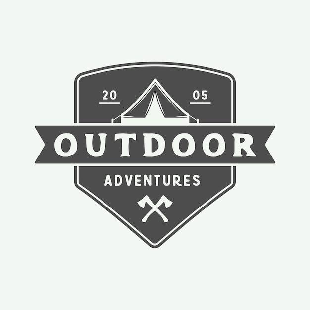 Кемпинг на открытом воздухе и приключенческий логотип Premium векторы