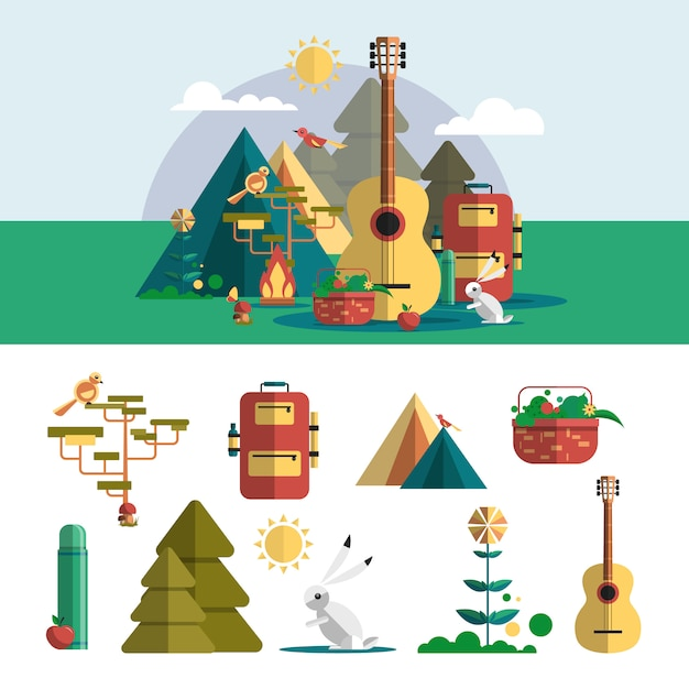 Camping outdoor design elements in flat style. hiking travel concept Premium Vector