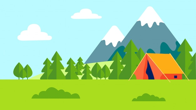 Camping outdoor recreation flat color illustration Premium Vector