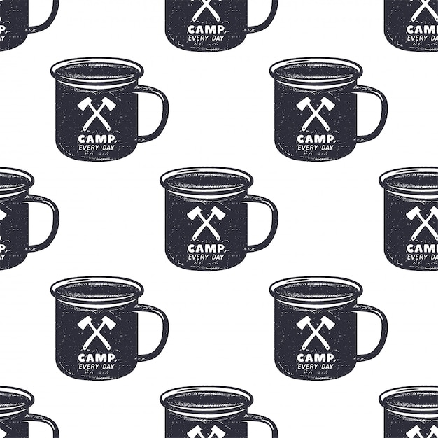 Camping pattern design. seamless wallpaper with mug illustration Premium Vector