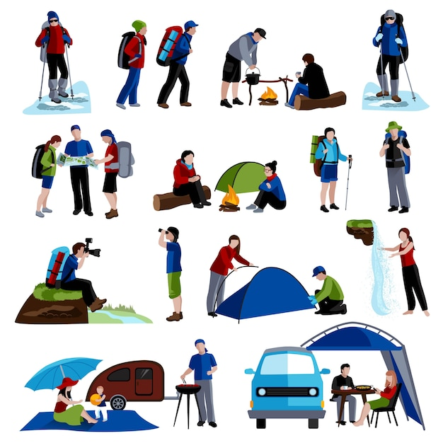 Camping and people icons set Free Vector