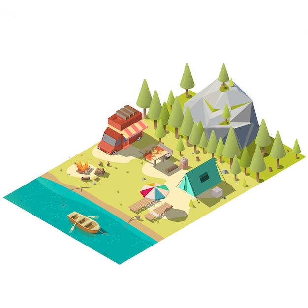 Camping pitch in national park isometric Free Vector